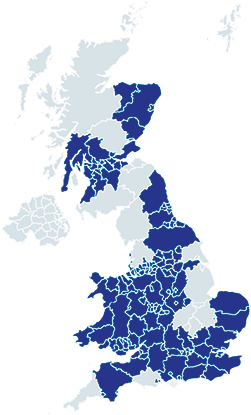 map of commerical areas covered in the uk