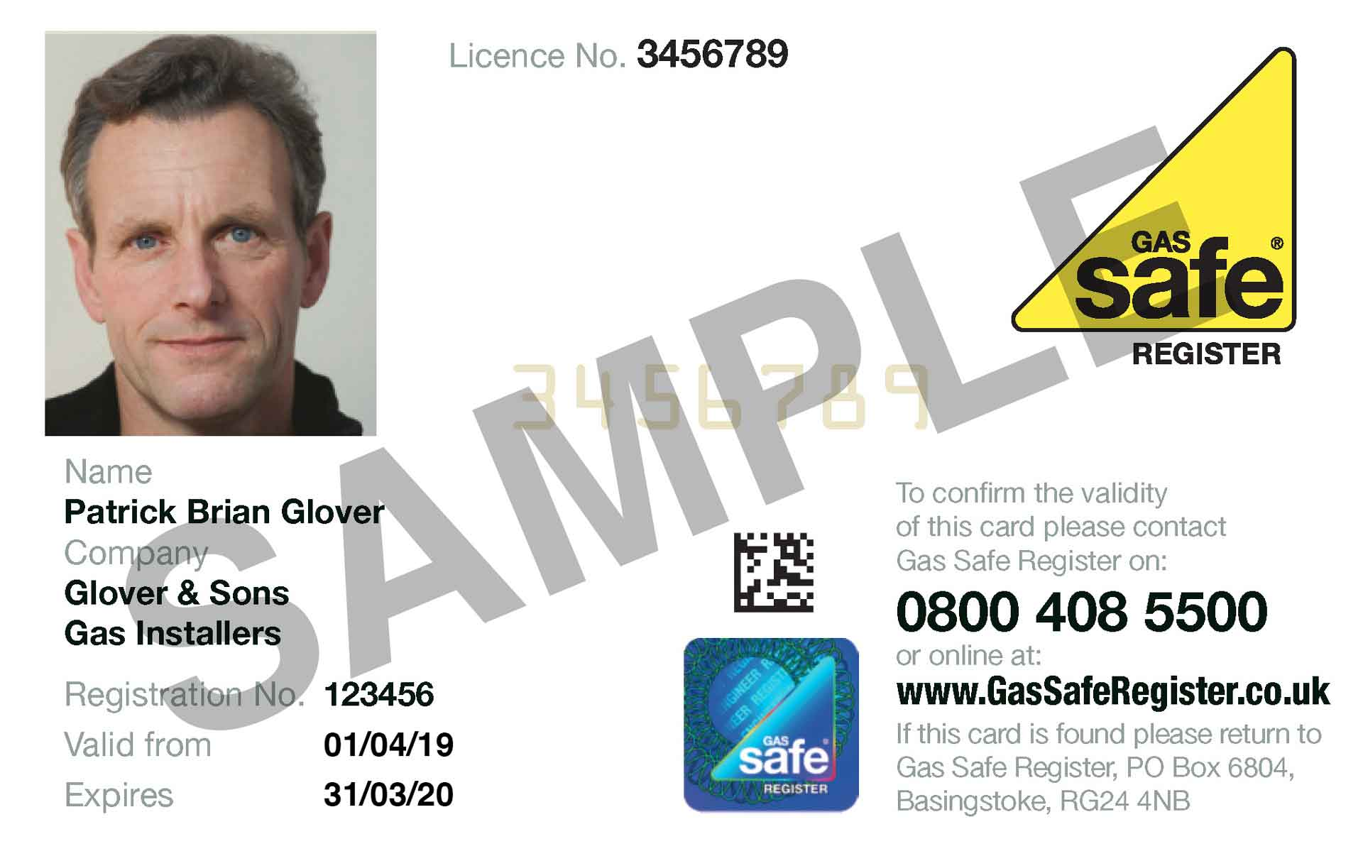Gas Safety Card sample