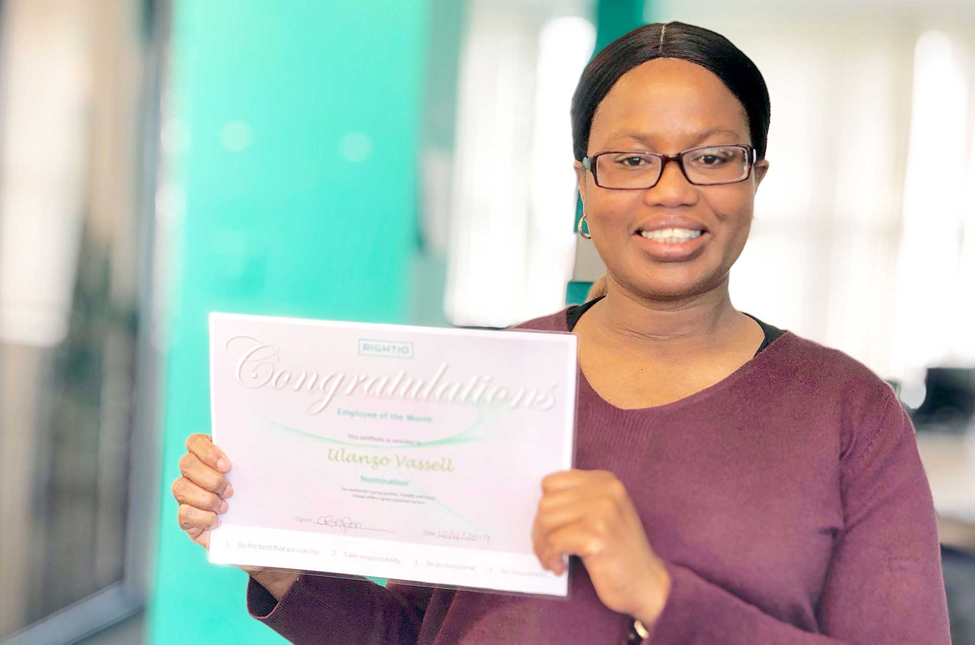 Employee of the month Ulanzo Vassell in Manchester