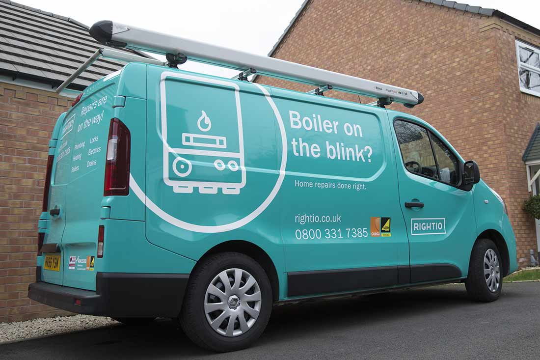 van displaying on of rightio's boiler services in Leeds