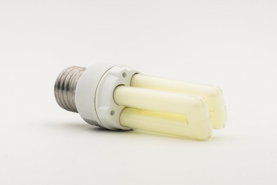Energy saving led light bulb on white background in Edinburgh
