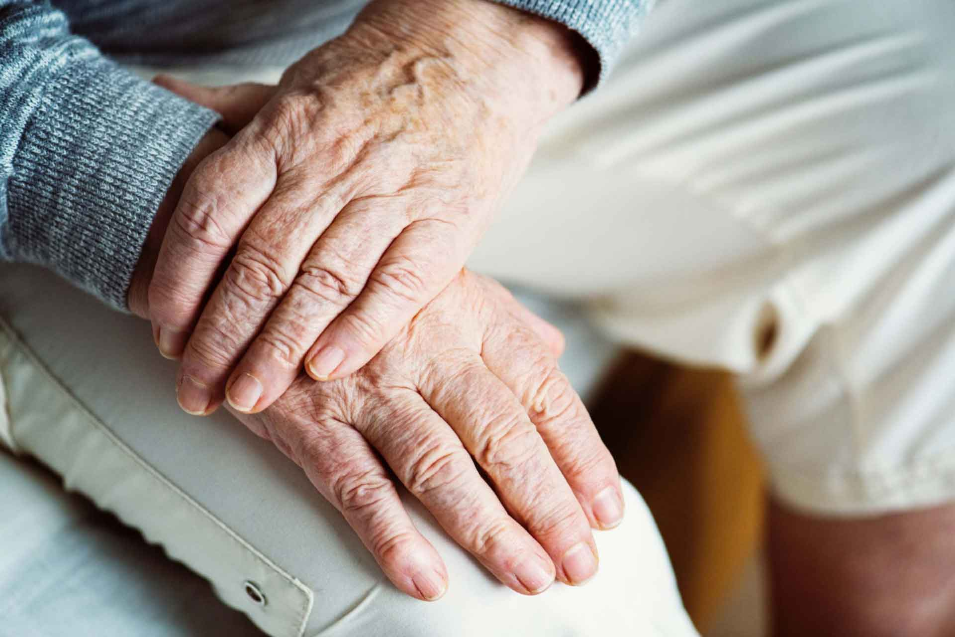 elderly hands from resident in a care home in Leeds